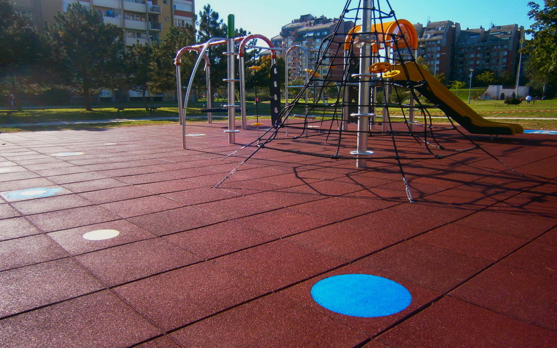 Rubber tiles for children's playgrounds